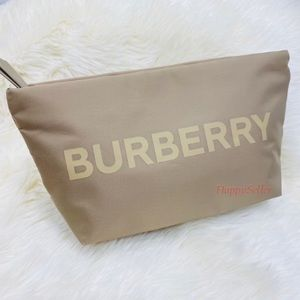 Burberry Pouch Cosmetics Bag Makeup Organizer Case Gold Dopp Kit Authentic NEW